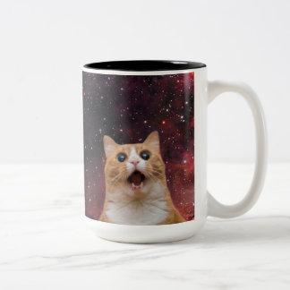 scaredy cat in space Two-Tone coffee mug