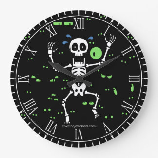 Scaredy-Huesos (ojos fantasmagóricos) Reloj Redondo Grande
