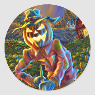 ScareJack O Lantern Scarecrow Classic Round Sticker