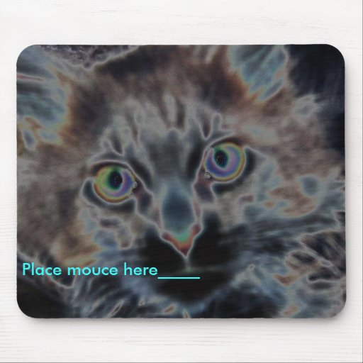 scarey cat, Place mouce here_____ Mouse Pad