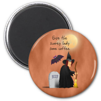 Scarey witch before coffee magnet