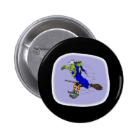 scarey witch on broom pinback button