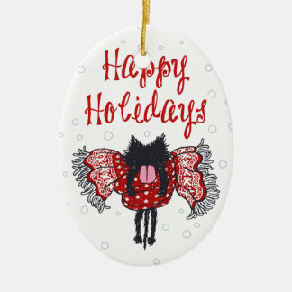 Scarf and Black Cat (Happy Holidays) Ceramic Ornament