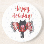 Scarf and Black Cat (Happy Holidays) Drink Coasters