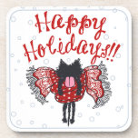 Scarf and Black Cat (Happy Holidays) Drink Coaster