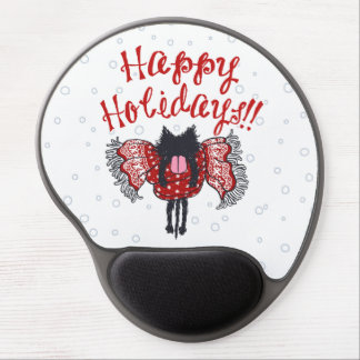 Scarf and Black Cat (Happy Holidays) Gel Mousepads