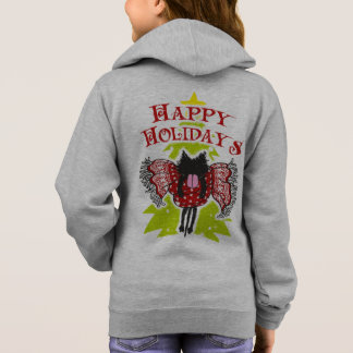 Scarf and Black Cat (Happy Holidays) Hoodie