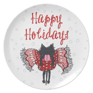 Scarf and Black Cat (Happy Holidays) Melamine Plate
