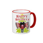 Scarf and Black Cat (Happy Holidays) Mugs