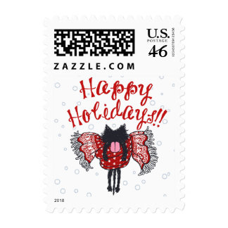 Scarf and Black Cat (Happy Holidays) Postage Stamps