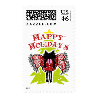 Scarf and Black Cat (Happy Holidays) Stamps