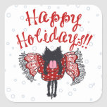 Scarf and Black Cat (Happy Holidays) Square Stickers
