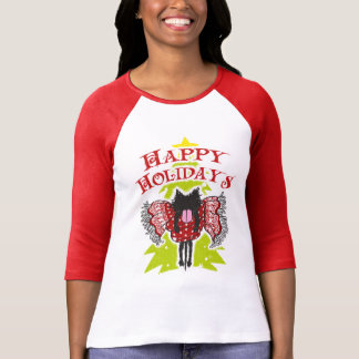 Scarf and Black Cat (Happy Holidays) T-shirts