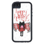 Scarf and Black Kitten (Happy Holidays) iPhone 5 Cover