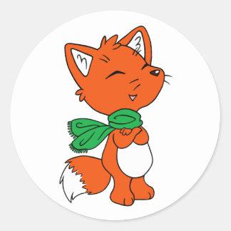 Scarf Fox Classic Round Sticker