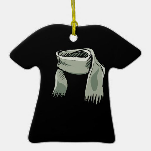 Scarf Double-Sided T-Shirt Ceramic Christmas Ornament