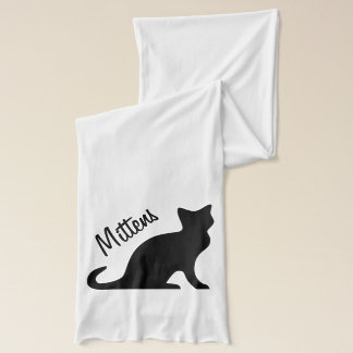 Scarf with black cat print and personalizable name