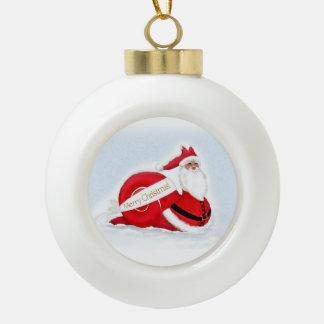 """S'cargot"" Snail Santa  Claus Ceramic Ball Christmas Ornament"