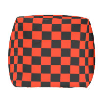 Scarlet and Black Checkered Footstool Outdoor Pouf