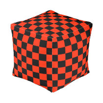 Scarlet and Black Checkered Ottoman