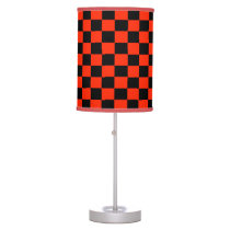 Scarlet and Black Checkered Shaded Lamp