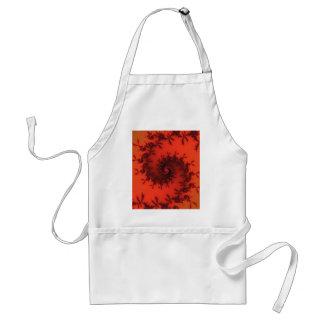 Scarlet and black spiral fractal. adult apron
