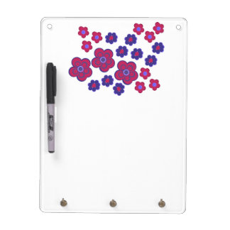 Scarlet and Blue Flowers Dry Erase Whiteboard