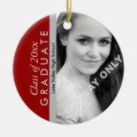 Scarlet and Grey Graduation Photo Ornament