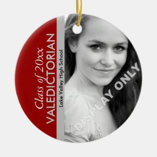Scarlet and Grey Valedictorian Photo Ornament