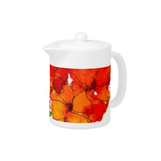 Scarlet and Orange Wallflowers on White Teapot
