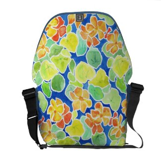 Scarlet and Yellow Nasturtiums Courier Bag rickshawmessengerbag