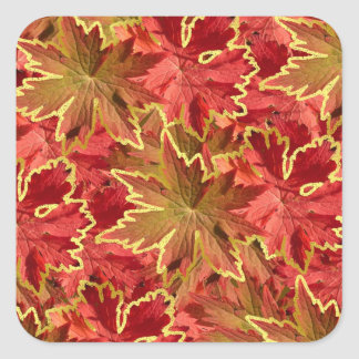 Scarlet Autumn Leaves Collage Square Sticker