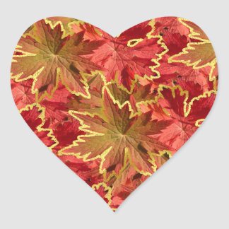 Scarlet Autumn Leaves Collage Heart Sticker