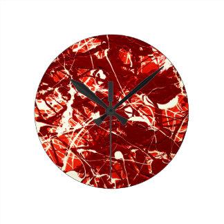 SCARLET BILLOWS (an abstract art design) ~ Round Clock