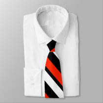 Scarlet Black and White Diagonally-Striped Tie