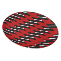 Scarlet Black and White Faux Weave Pattern Plate