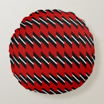 Scarlet Black and White Faux Weave Pattern Printed Round Pillow