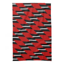 Scarlet Black and White Faux Weave Pattern Printed Towels