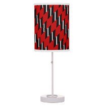 Scarlet Black and White Faux Weave Pattern Shaded Table Lamp