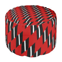 Scarlet Black and White Faux Weave Pouf