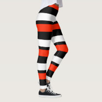 Scarlet Black and White Horizontally-Striped Leggings