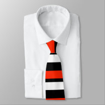 Scarlet Black and White Horizontally-Striped Tie