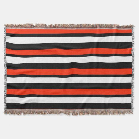 Scarlet Black and White Striped Throw Blanket