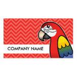 Scarlet Cartoon Macaw Parrot Bird Business Card Templates