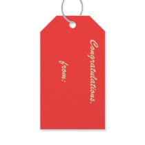 Scarlet Congratulations Gift Tag (gold script)