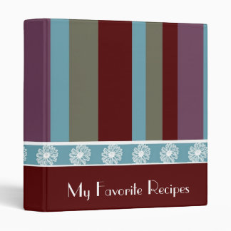 Scarlet Cyan Stripes Recipe Book Vinyl Binder