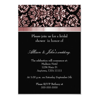 Scarlet Damask Ribbon Bridal Shower Invitation
