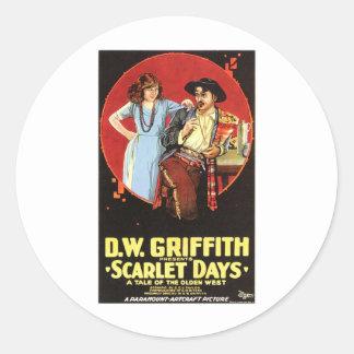 Scarlet Days Movie Poster Classic Round Sticker