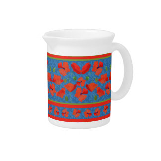 Scarlet Field Poppies Border Small Jug or Pitcher