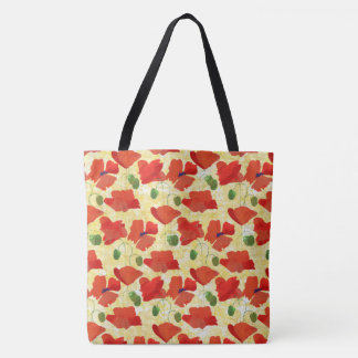 Scarlet Field Poppies Floral Pattern on Yellow Tote Bag